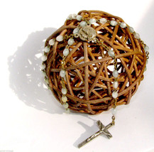 Vintage Rosary Mop Beads Silver Color Crusifix Italy - $18.76