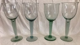 Mouth Blown Pale Green Thick Stemmed Wine Water Goblet Glass (4) Flared ... - $34.64