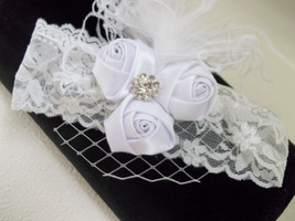 Newborn Baby Girl White Lace Headband With Veil And Curly Feathers - $10.00