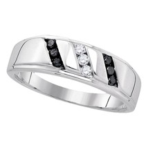 Sterling Silver Mens Round Black Color Enhanced Diamond Wedding Ring 1/4 Ctw - £93.84 GBP