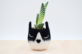 Succulent planter / Tuxedo cat mini planter /  Cat head planter / indoor... - £19.70 GBP