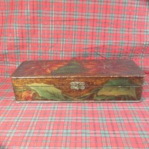 Antique Beautiful Colored Flemish Art Pyrography Carved Wooden Box, ca 1910 - $45.80