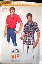 Simplicity Pattern 6368 Men's Jiffy Shirt Size Medium 38-40 Complete Easy - $6.60