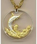 "Bahamas 50 cent ""Blue Marlin"" , cut coin pendant necklace - $90.00"