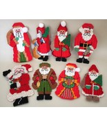Christmas Santa Claus Ornaments Hand Stitched Lot of 8 Vintage Style Santa - $9.95