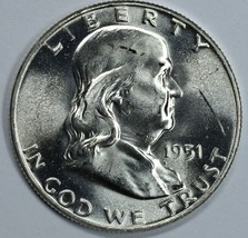 1951 P Franklin uncirculated silver half dollar BU - $26.50
