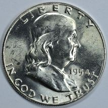 1954 P Franklin uncirculated silver half dollar BU - $24.00