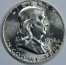 1956 P Franklin uncirculated silver half dollar BU - $26.00