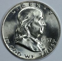 1957 D Franklin uncirculated silver half dollar BU - $26.00