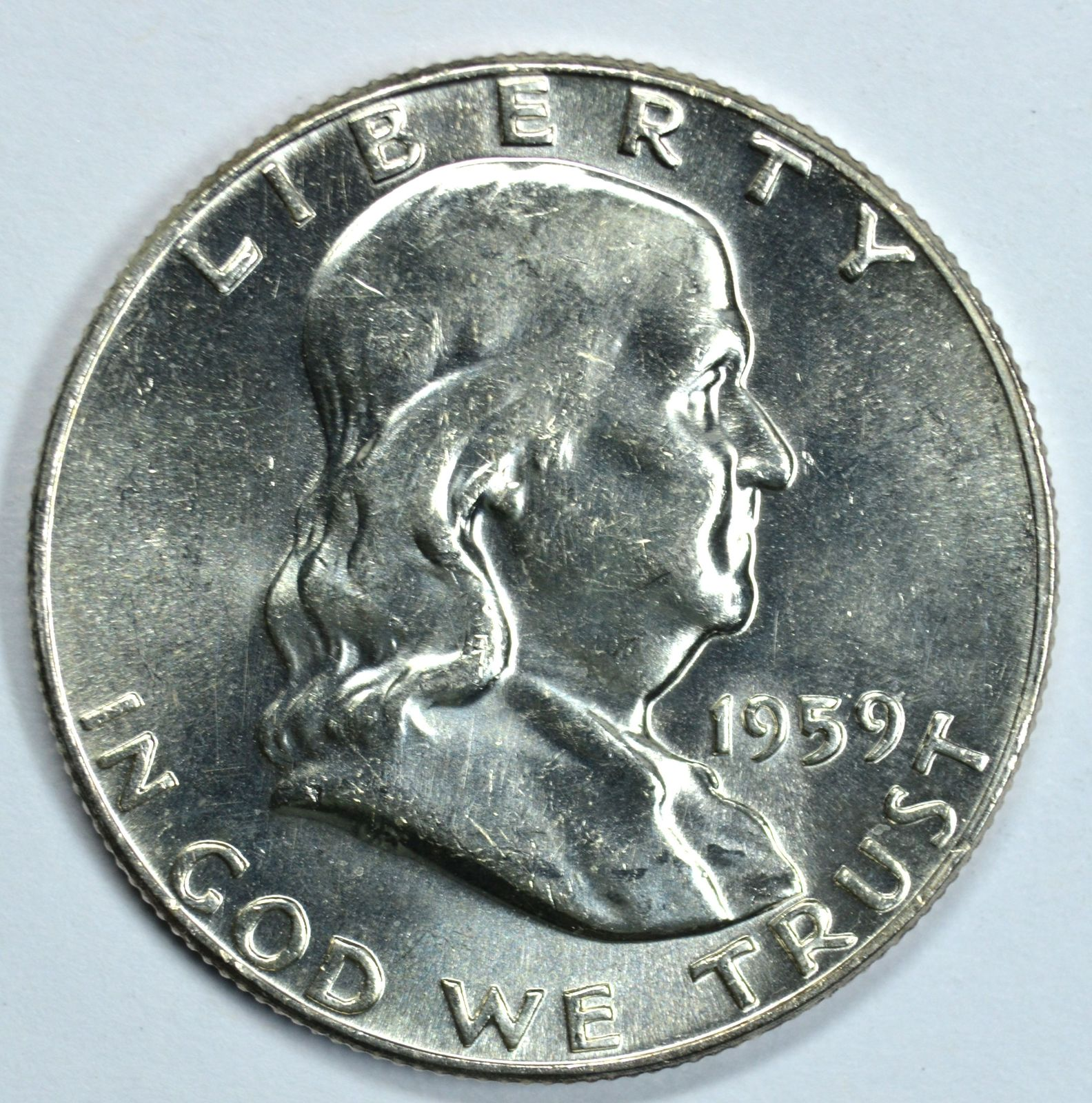 Primary image for 1959 P Franklin uncirculated silver half dollar BU Type 2 Reverse