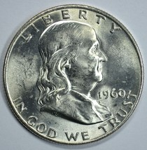 1960 D Franklin uncirculated silver half dollar BU - $23.00