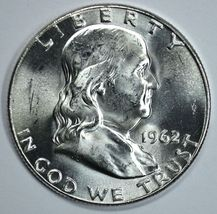 1962 P Franklin uncirculated silver half dollar BU - $23.00