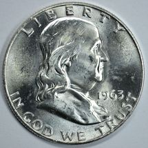 1963 D Franklin uncirculated silver half dollar BU - $20.50