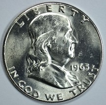 1963 P Franklin uncirculated silver half dollar BU - $20.00