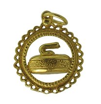 Yellow 24K Gold plated real silver curling stone rock championship jewelry charm - $15.83
