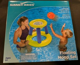 Summer Waves Floating Hoop Game Center Basketball Hoop And Ball Ages 6 a... - $7.00