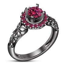 Pure 925 Silver Black Gold Finish Round Cut Pink Sapphire Women's Weddin... - $79.88