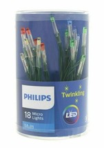 Philips 18ct Christmas LED Micro String Lights Battery Op. Multicolored Twinkle