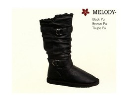 Women's Wild Diva Mid Height Melody Fashion Boots 2 Buckle Black New $50 - $44.99