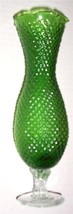 Vintage Handblown & Hand Designed Diamond Style Slender Green Glass Vase - $84.65