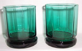(2) Fern Green Anchor Hocking Solid Short Glass Tumblers - $22.99