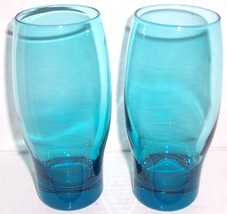 (2) Handblown Crystal Virginia Blue Color Large Glass Tumblers - $42.98