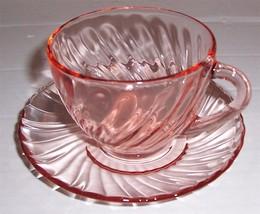 Vintage Arcoroc Cup & Saucer Set Peach Color Swirl Design - $29.99