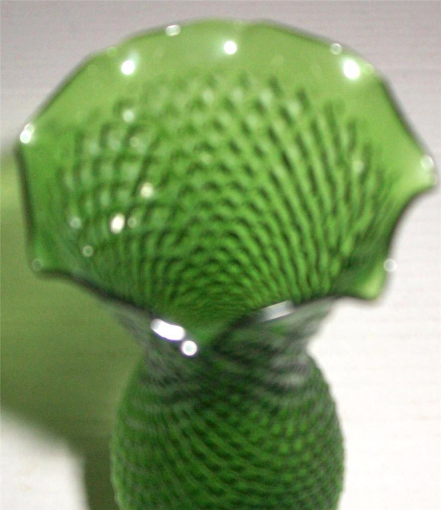 Vintage Handblown & Hand Designed Diamond Style Slender Green Glass Vase