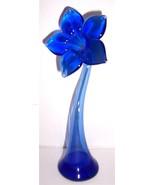 Murano Handblown Cobalt Blue Slender Flower Pet... - $54.99