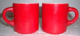 (2) Anchor Hocking Fire King Collectible Red Milk Glass Mugs - $38.99