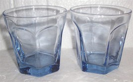 Anchor Hocking (2) Light Blue Short Octagon Shape Glass Tumblers - $28.00