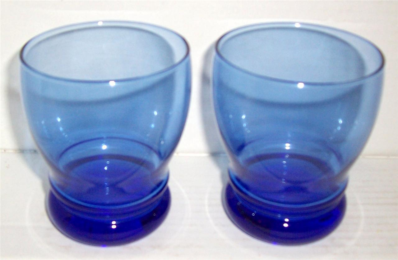Cobalt Blue Bulbous Pressed Glass Shaped Collectible Tumblers