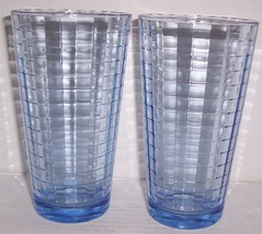 (2) Optic Checkered Design Light Blue Solid Large Glass Tumblers (P) - $22.28