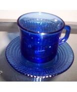 Fortecrisa Cobalt Blue Cup & Saucer Glass Set C... - $24.99