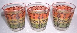 (3) Vintage Depression Short Colored Green Gold Orange & Black Glass Tum... - $29.99