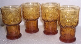 (4) Mini Libbey Collectible Amber Color Juice Pressed Glasses - $43.99