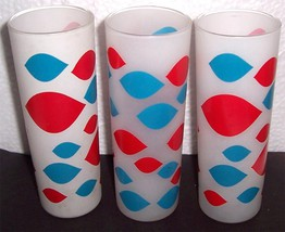 Frosted Slender Abstract Designed Entertaining Glass Tumblers Made in Fr... - $59.00