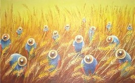 RARE BRAZIL PAINTING BY MIRINHO RIO - Harvesters of Wheat - COLHEDORES D... - $545.50