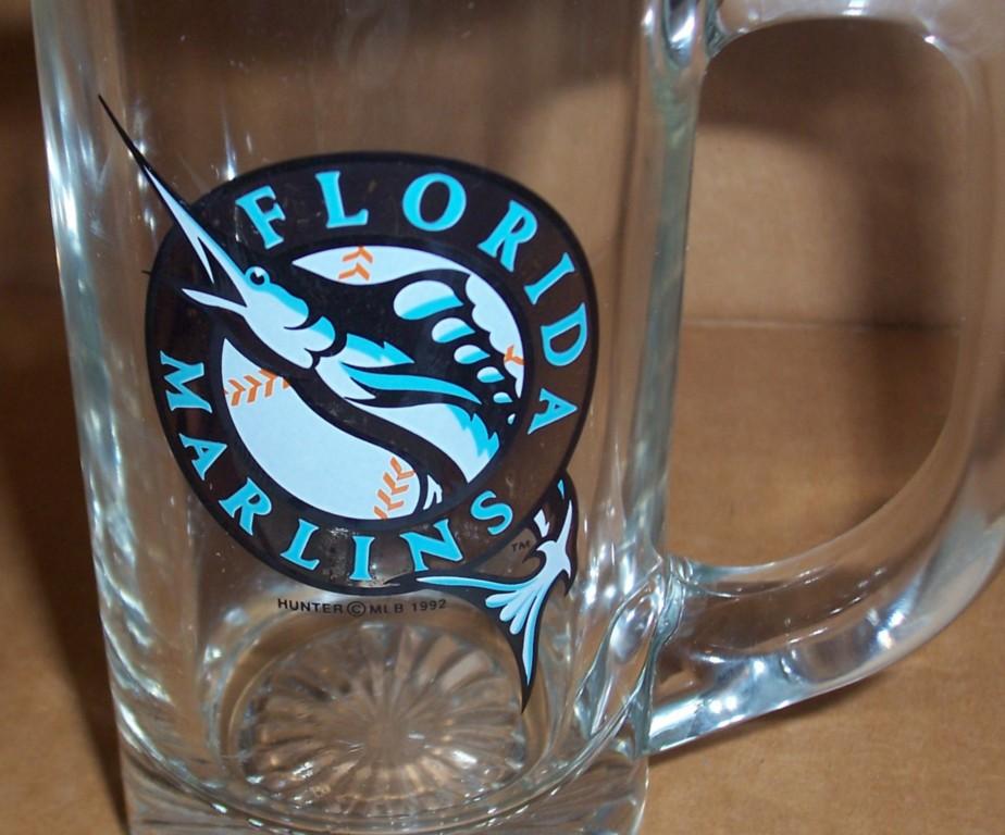 RARE MLB 1992 FLORIDA MARLINS BASEBALL COLLECTIBLE GLASS MUG BY HUNTER