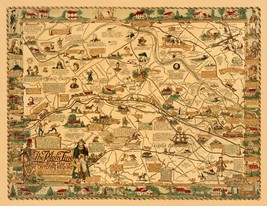 Philadelphia PA Main Line rail line Lenape tribe 1946 PICTORIAL map POST... - $15.84