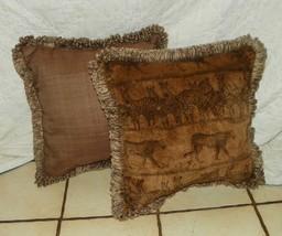 Pair of Brown Safari Print Throw Pillows - $59.95