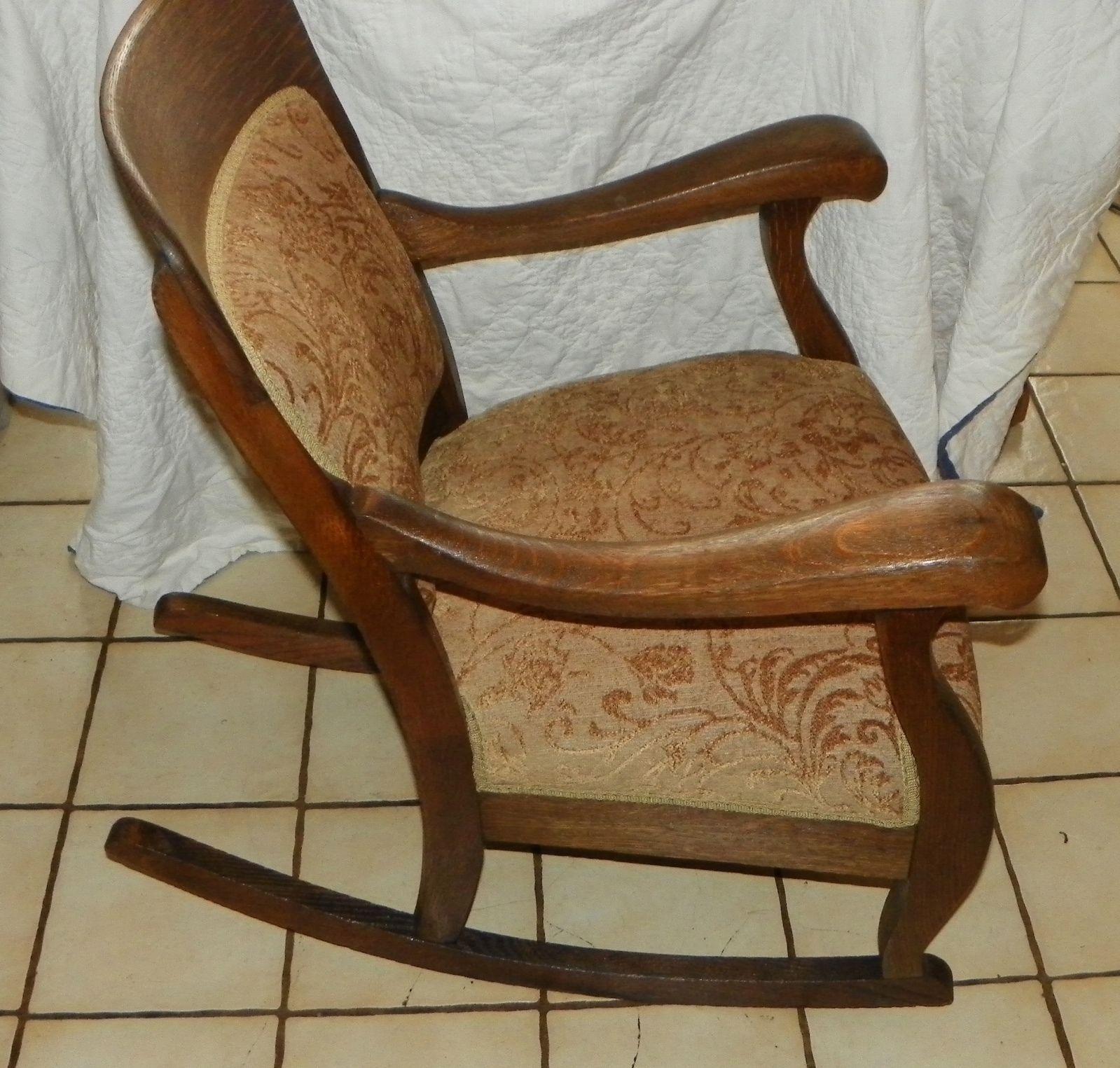 Quartersawn Oak Empire Rocker / Rocking Chair (R177) - Post-1950