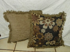Pair of Green Brown Black Flower Print Throw Pillows with Fringe - $59.95