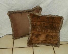 Pair of Brown Safari Print Throw Pillows with Fringe - $59.95