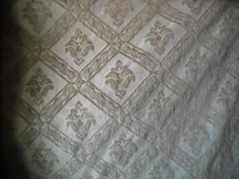 Cream Beige Diamond Flower Print Upholstery Fabric 1 Yard  GS - $17.95