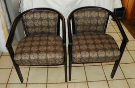 Pair of Retro Black Distressed Barrel Back Armchairs / Club Chairs  (AC86) - $599.00