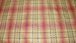 Burgundy Yellow Plaid Nylon Upholstery Fabric  F618 - $19.95