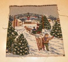 Christmas Sledding Snowy Town Scene Pillow Fron... - $14.95
