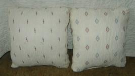 Pair of Off White Southwest Print Pillows / Throw Pillows 17 x 17  (PL108) - $39.95