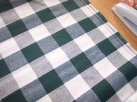 Green/Cream Large Plaid Print Fabric/Upholstery Fabric  1 YD R896 - $14.95